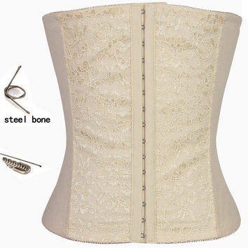 White Floral Lace Underbust Corset With Steel Bones