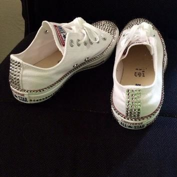 swarovski rhinestone converse chucks great gift or item for yourself high tops low t