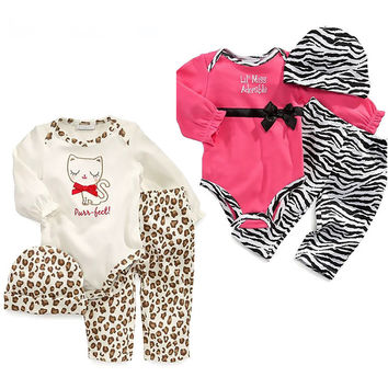 New 2016 autumn baby girl clothes leopard rompers + pants + hat 3/pcs baby winter clothing set newborn  suits