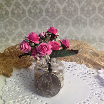 Beautiful Bouquet of Pink Roses Miniature Fairy Garden