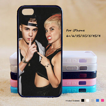 miley Cyrus and Justin bieber Phone Case For iPhone 6 Plus For iPhone 6 For iPhone 5/5S For iPhone 4/4S For iPhone 5C