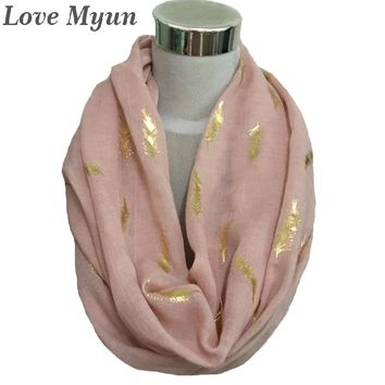 Free shipping ! Fashion feather  with gold foil  infinity Scarf