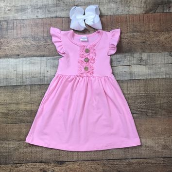 RTS Girls Summer Dress, Ruffle Chest Solid Pink Dress D22