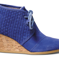 TOMS+ Blue Basket Weave Women's Desert Wedges US 7