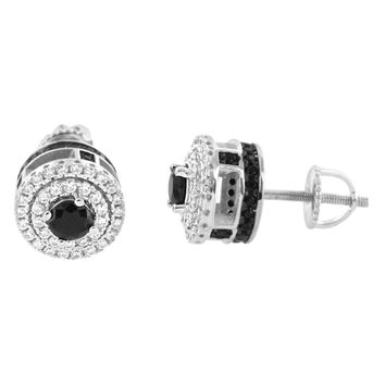 Iced Out Black Solitaire Prong Style 14k Rhodium Finish Earrings