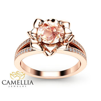 Morganite Flower Engagement Ring 14K Rose Gold Flower Engagement Ring Peach Pink Morganite Diamond Ring