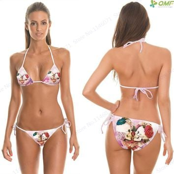 Flowers Skulls Bikini Set Bandage Swimsuit Pink Rose Wreaths Skeleton Bikinis Brazilian Biquini Mini Swimwear Women Push Up