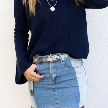 No Heartache Light Denim Cutout Denim Skirt