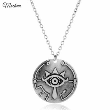 MQCHUN The Legend Of Zelda Breath Of The Wild Sheikah Eye Choker Necklace Vintage Silver Color Pendant Hot Game Jewelry big eyes