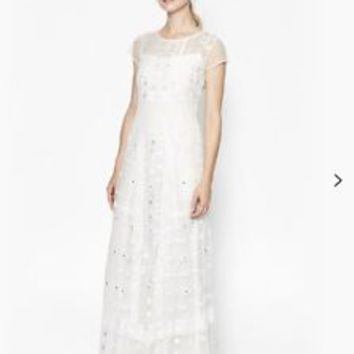 French Connection White Lace and Sequin Summer Maxi Dress Size 10 Brand New | eBay