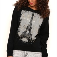 Long Sleeve High Low French Terry Top with Meet me in Paris Screen