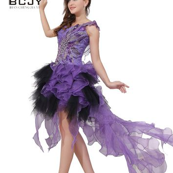 2017 Unique Peacock Prom Dresses Luxury Crystal Purple Tulle Ruffles O Neck Mini Prom Party Dress Vestidos Free Shipping
