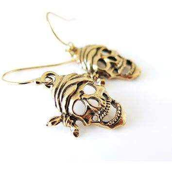 14KT Gold Filled Pirate Skull - Charm Dangle Earrings - Halloween Jewelry - Sailor Jewelry - Antique Gold Plated Charm - 14Kt GF Earrings