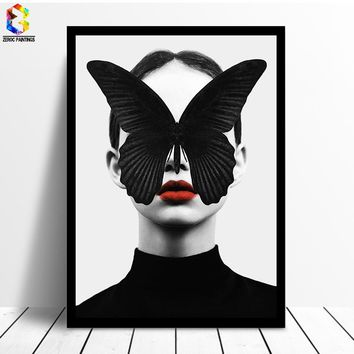 Nordic Decoration Butterfly Poster And Prints Girl Canvas Painting Wall Art Canvas Prints Poster Wall Pictures for Living Room