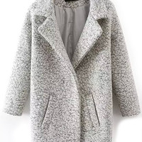 Grey Textured Lapel Woolen Coat