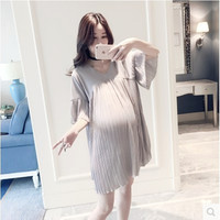 Natural Solid Color Pleated Ruffles Loose Maternity Dresses Knee-length Chiffon Soft Thin Pregnancy Dress Pregnant Women Clothes
