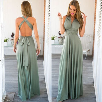 Women Elegant Deep V-neck Maxi Party Dress = 5738091969
