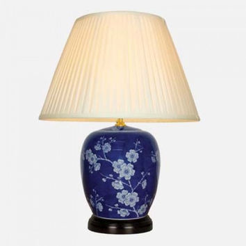 PAIR OF CHINESE GINGER JAR TABLE LAMPS WITH SHADES - BLUE BAI MEI