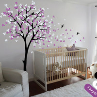 Nursery Children Bedroom Wall Decoration Tree Sticker Blossoms With Flying Birds Home Decor Wall Mural Vinyl Special Decal T-3