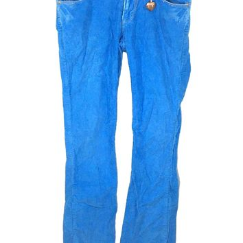 Betsey Johnson Blue Corduroy Jeans Distressed Pants Stretch Juniors Womens 26 - Preowned