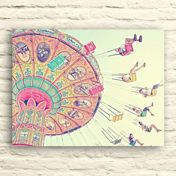 Carnival photography. Swings. Santa Cruz. Pastel. Pink. Yellow. blue. canvas wall art. nursery decor. fun. whimsical. children's room decor