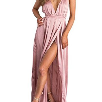 Women's Sleeveless Backless Satin Strappy Maxi Dress Pajamas