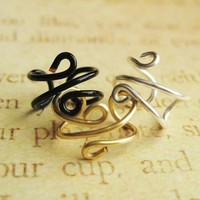 3 pieces lot Plain ear cuff in silver gold and black