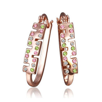 18K Rose Gold Rainbow Colored Jewels 1/2 Hoop Earrings Made with Swarovksi Elements