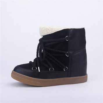 Smile Circle Winter Boots Women Shoes Hidden Wedges Boots Elevator Lace-up Casual Shoes For Women Ankle Boots Wedge sneakers