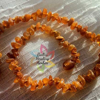 Baby Baltic Raw Amber necklace designed with 100% Baltic amber honey raw nuggets.