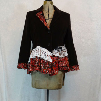 Upcycled Clothing / Brown Corduroy Jacket / Funky Artsy Blazer / Steampunk Jacket / Medium / Large