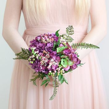 """Silk Hydrangea and Berry Bouquet in Plum - 14"""" Tall"""