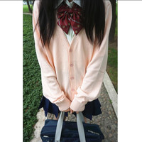 Women Long Sleeves Students School Uniform Japanese Style Girl Cute Open Cardigan V-Neck Knitted Plus Size Coat Sweater