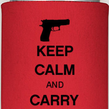 Keep Calm AND Carry One, gun support, my rights, guns, protect yourself, guys gifts, gun safety, keep calm and carry one koozies, custom
