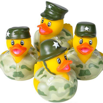 "2"" Assorted Army Camouflage Rubber Ducks"