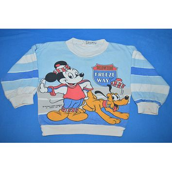 80s Mickey Mouse and Goofy Kids Sweatshirt Youth Small