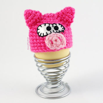 Pink Pig Cozy EGG Warmer Crochet Wool Egg Cup Kitchen Cute