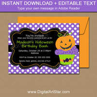 Pumpkin BIRTHDAY Invitation, Halloween Birthday Invitation, Kids Halloween Party, Little Pumpkin Invites, 1st Birthday Invitations HC