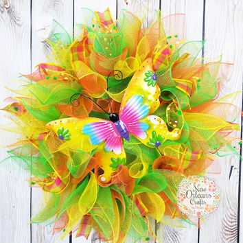Summer Butterfly Deco Mesh  Wreath - Orange Yellow Green Deco Mesh Wreath - Summer Wreath - Butterfly Deco Mesh Wreath - Deco Mesh Wreath