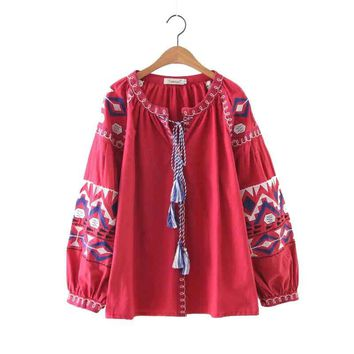 Vintage Blouse Shirt Women Casual Clothing Lantern Sleeve Lace-up Cotton Embroidery Shirts Pullover Red White Tops Retro Blusas