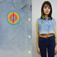 Denim Crop Top Hippie Peace Sign Soft Grunge Dip Dye Bleached Frayed Distressed Faded Washed Out Sleeveless Tank Womens Vintage Clothing 90s