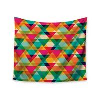 """""""Rainbow Geometry"""" Colorful Triangles Wall Tapestry"""