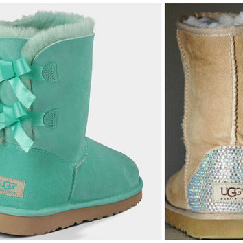 NEW - Ugg Surf Spray Bailey Bow Boots with Swarovski Crystal Bling Boot Heel - Mint Uggs with Crystal Bling
