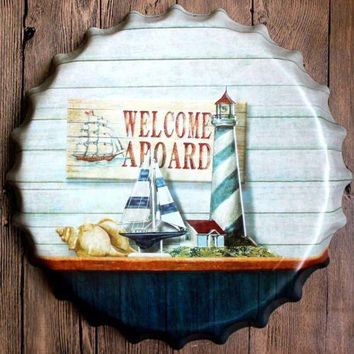 "16"" Round Welcome Aboard Bottle Cap Vintage Tin Sign Bar Wall Decor Metal Art"