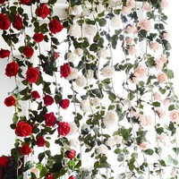 6ft long Artificial Rose Floral Garland Backdrop - Pink floral garland / cream off white floral garland / red floral garland