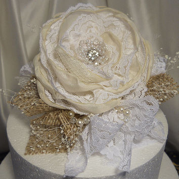 Burlap & Lace Cake Topper Flower Pick, handmade, one of a kind and ready to ship.