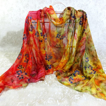 Large long silk scarf Virginia Creeper. Original Artwork. Chiffon Hand-painted Statement Shawl. Red orange yellow. Ready. 200x50cm, 79x20""