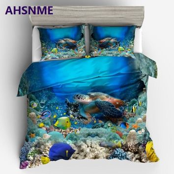 AHSNME Summer Diving Sea World Coral Reef & Turtle & Beautiful Fish King Queen size Bedding Set Duvet Cover set