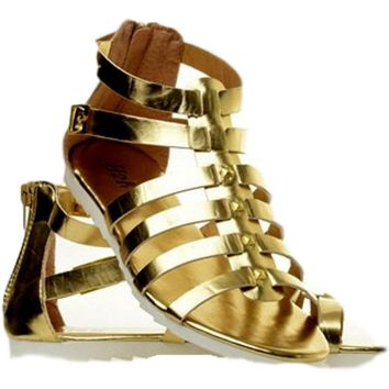 ladies Gladiator Sandal, Gold
