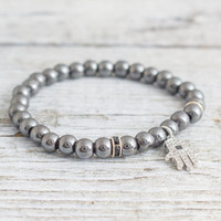 Hematite beaded stretchy bracelet with micro pave silver Hamsa hand charm, made to order bracelet,  mens bracelet, womens bracelet